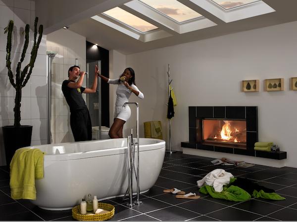 Ванная комната с кафельным камином В3