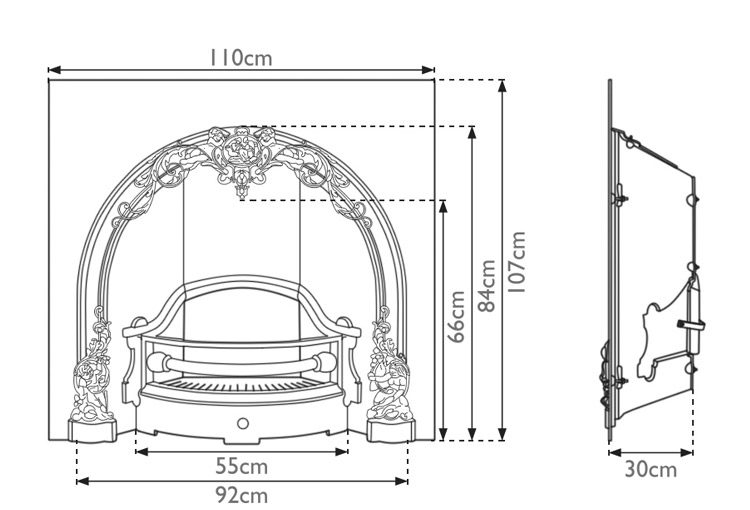 cherub-cast-iron-fireplace-insert-technical