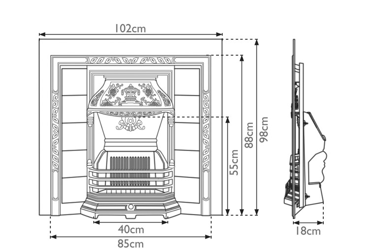 laurel-cast-iron-fireplace-insert-technical