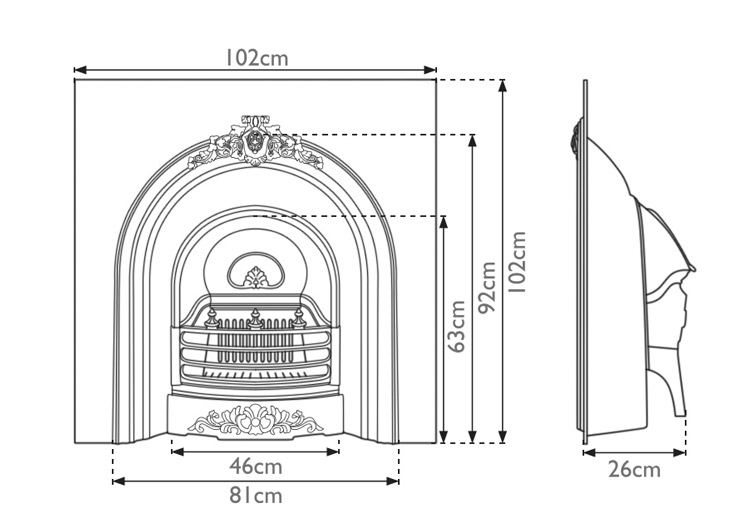prince-cast-iron-fireplace-insert-technical