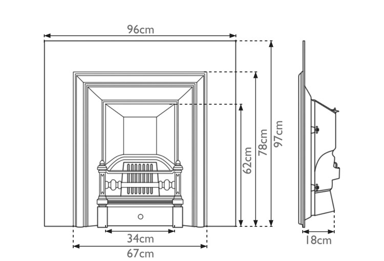 royal-narrow-cast-iron-fireplace-insert-technical