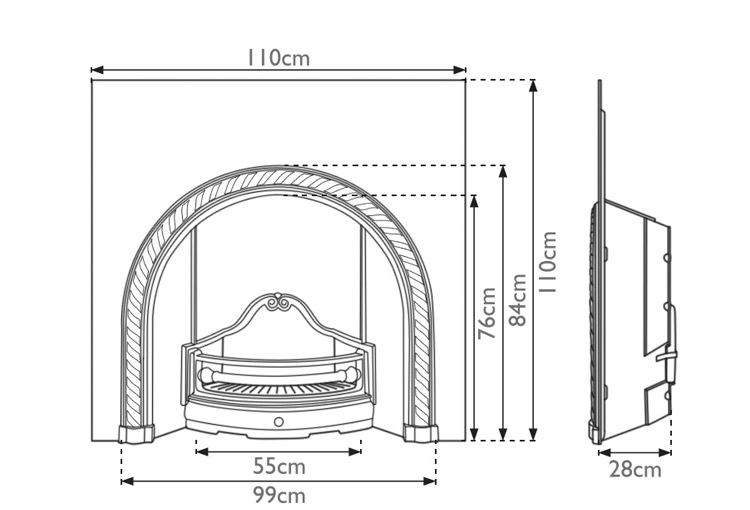 westminster-cast-iron-fireplace-insert-technical